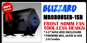 BLIZZARD MB080USEB-1SB 1394b/USB 2.0/eSATA External HDD Enclosure