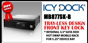 "MB877SK-B Tray-less 3.5"" SATA Aluminum Hard Drive Mobile Rack"