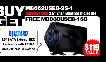 One Free BLIZZARD MB080USEB-1SB 1394b/USB 2.0/eSATA External HDD Enclosure - $119 Value