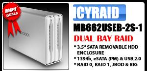 ICYRaid MB662USEB-2S-1 Dual bay 1394b, eSATA & USB RAID Enclosure