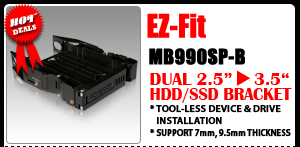 "EZ-Fit MB990SP-B Tool-less Dual 2.5"" SSD/HDD Mounting Kit / Bracket"