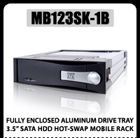 "MB123SK-1B 3.5"" SATA Aluminum Hard Drive Mobile Rack Compact"