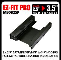 "EZ-Fit PRO MB082SP Full Metal Dual 2.5"" SSD/HDD Mounting Kit / Bracket"
