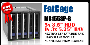 """FatCage MB155SP-B 5x3.5"""" in 3x5.25"""" Hot Swap SATA HDD Cage"""