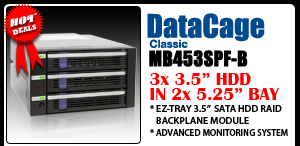 """DataCage Classic MB453SPF-B 3x3.5"""" in 2x5.25"""" Hot Swap HDD Cage"""