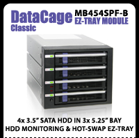 """DataCage Classic MB454SPF-B 4x3.5"""" in 3x5.25"""" Hot Swap HDD Cage"""