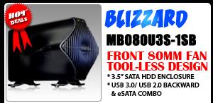 BLIZZARD MB080U3S-1SB USB 3.0 & eSATA External HDD Enclosure