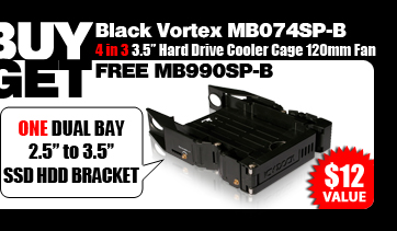 """One Free MB990SP-B Dual 2.5"""" to 3.5"""" SATA SSD/ HDD Bracket - $13.50 Value"""