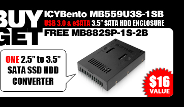 "One Free EZConvert MB882SP-1S-2B 2.5"" to 3.5"" SATA SSD / Hard Drive Converter - $16 Value"