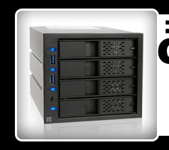 """FlexCage MB974SP-2B Tray-Less 4x3.5"""" in 3x5.25"""" SATA HDD Cage"""