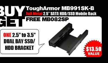 """One Free MB082SP Dual 2.5"""" to 3.5"""" SATA SSD/ HDD Bracket - $13.50 Value"""