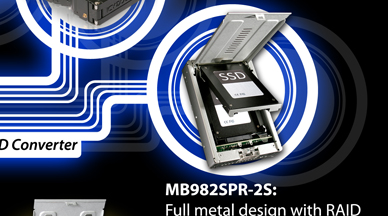 MB982SPR-2S: Full metal design with RAID featuring RAID 0, 1, BIG & Port Multiplier (JBOD)
