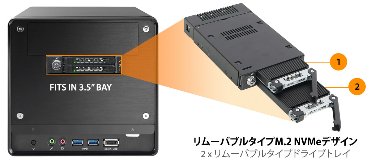 mb834m2k-b ホットスワップ 可能な M.2 SSD リムーバブルケース