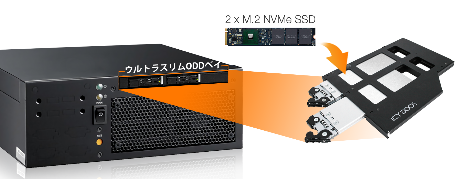 mb852m2po-b 世界初の取り外し可能なM.2 NVMe SSDエンクロージャ