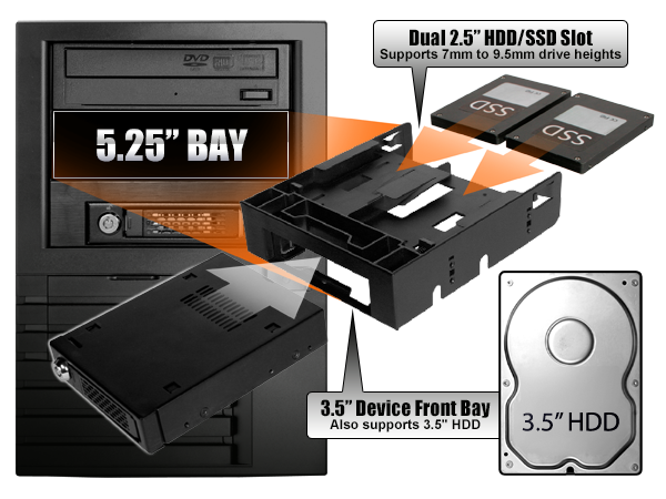 Mb343sp 3 5 To 25 Conversion Kits Ssd Mounting Brackets Upgrade Icy Dock Manufacturer Removable Enclosure Less Hard Drive