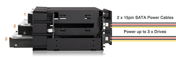 mb830sp-b 3つのドライブは2本の電源ケーブルのみで電力の供給が可能です