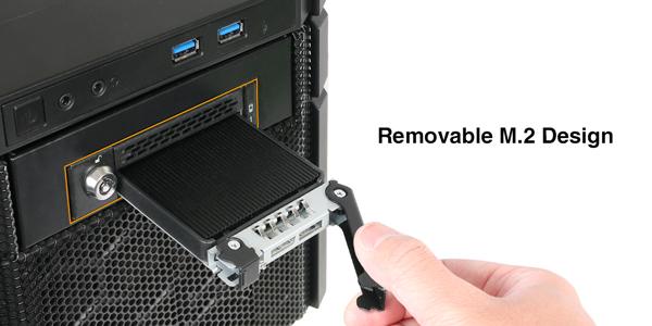 mb833m2k-b ホットスワップ 可能な M.2 SSD リムーバブルケース