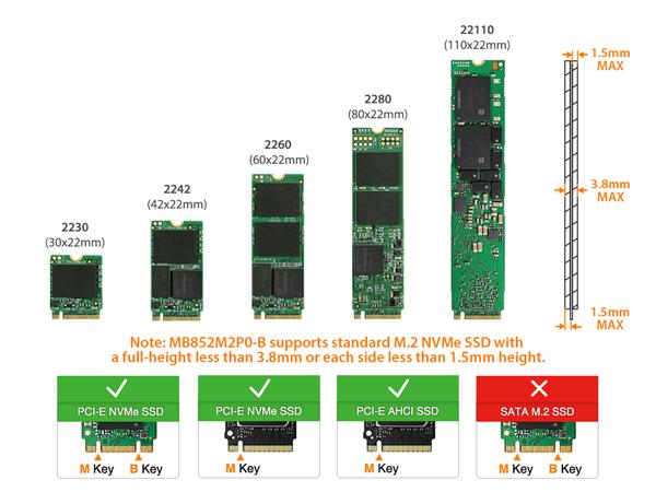 Foto de las dimensiones de las SSD M.2 NVMe soportadas por el MB852M2PO-B