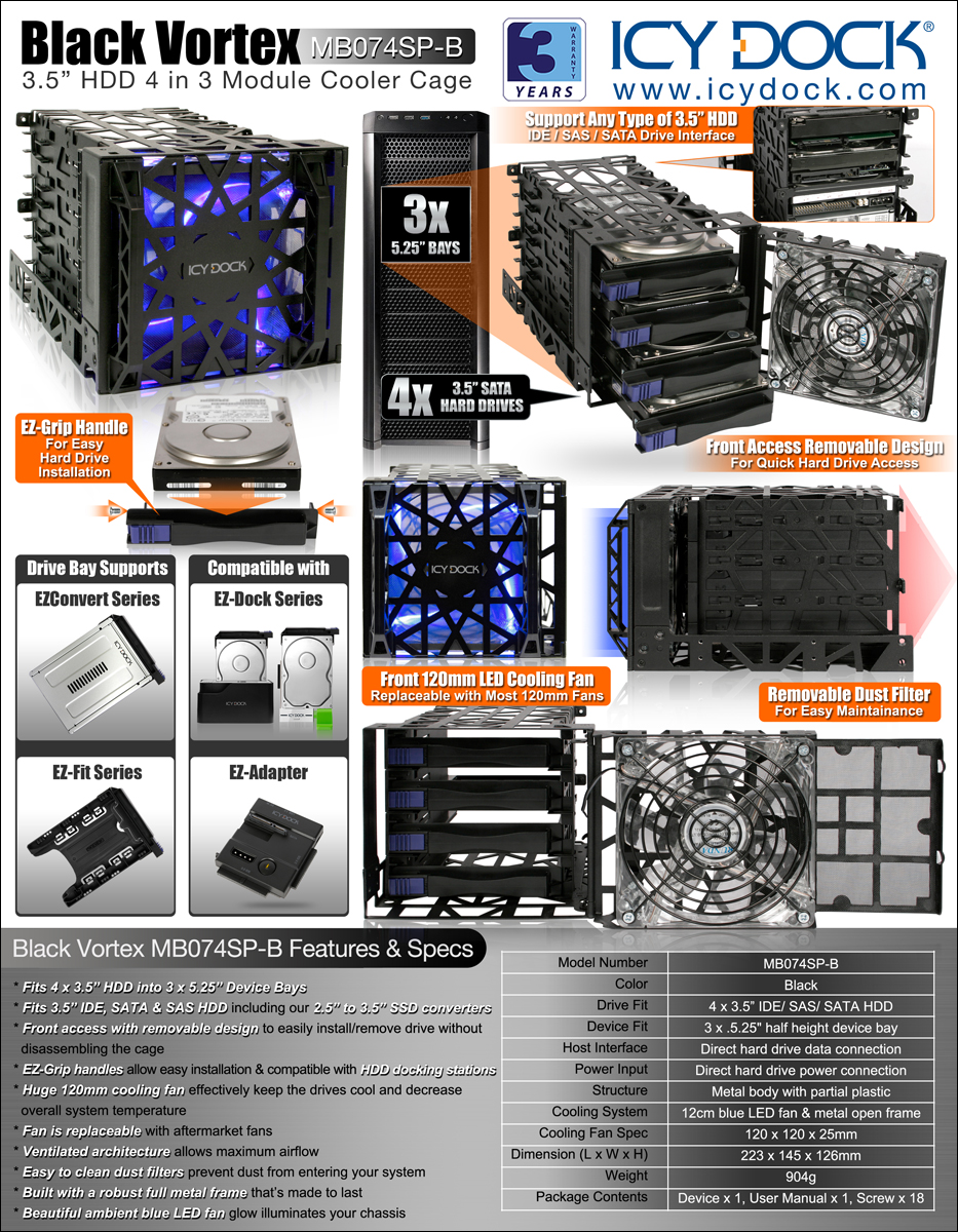 Mb074sp B Hdd Cooler Cages 3 5 Quot Hdd Cages Icy Dock