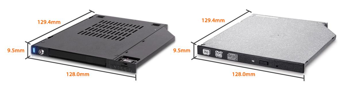 Comparaison d'un MB511SPO-1B et d'une baie ODD Ultra Slim (qui font exactement la même taille)