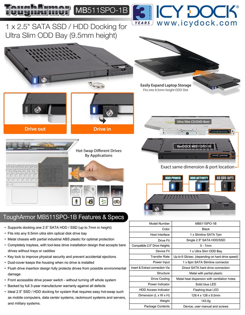 MB511SPO-1B_flexiDOCK_2 5인치 SAS/SATA 하드랙_ICY DOCK