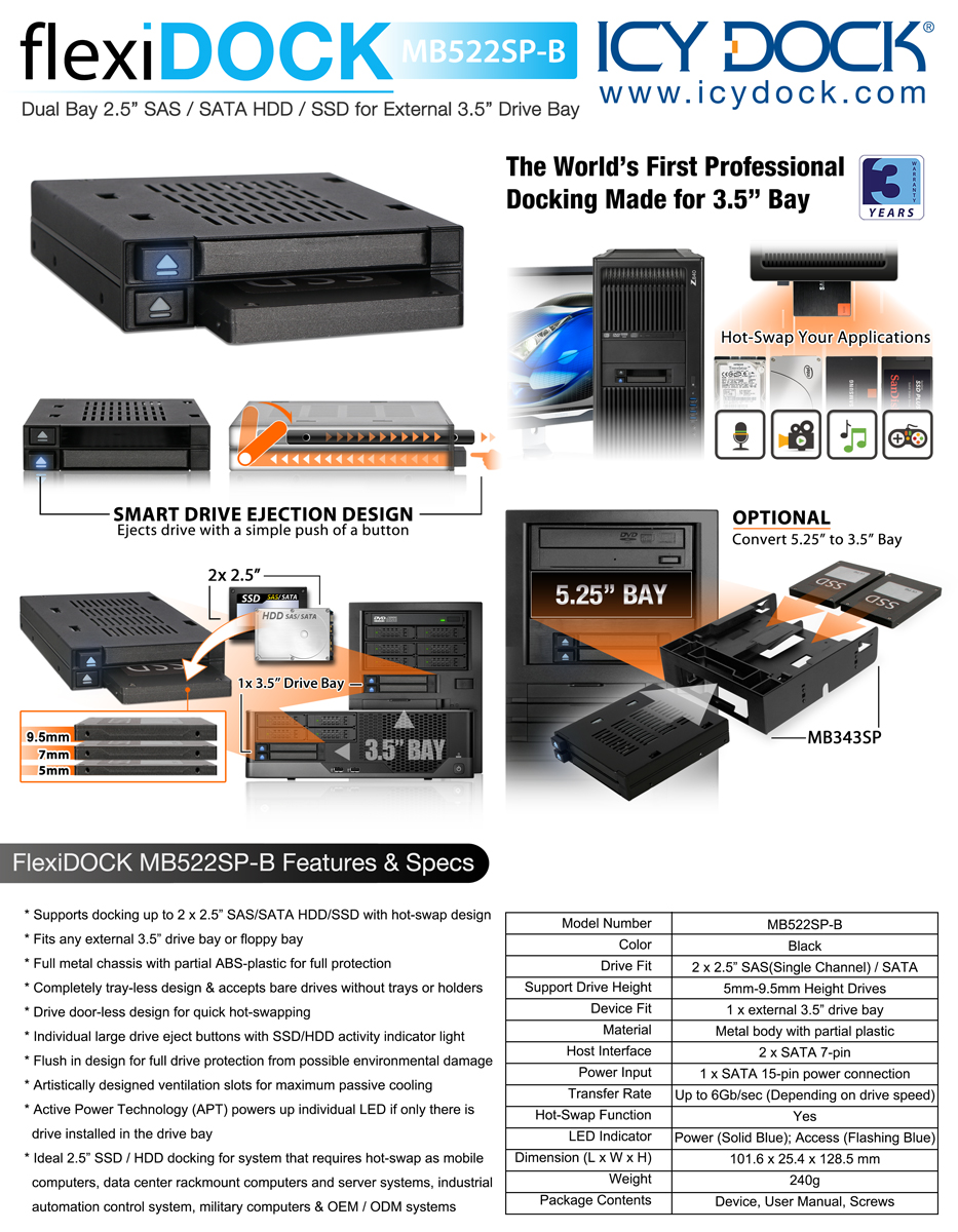 Mb522sp B Flexidock 25 Hdd Ssd Cages Icy Dock Manufacturer Bracket Black Metal Inch To 35 Documents