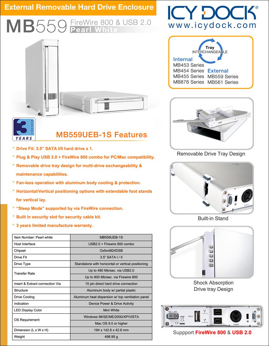 Icy Dock Mb559ueb 1s Firewire Enclosures Diagram Documents