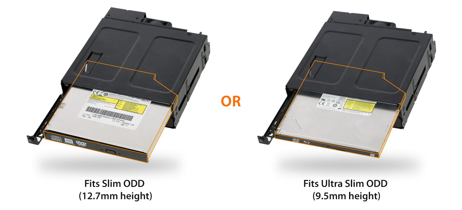 Photo comparaison avec plusieurs ODD ULtra Slim et Slim pour montrer qu'on peut mettre les deux hauteurs dans le MB602SPO-B