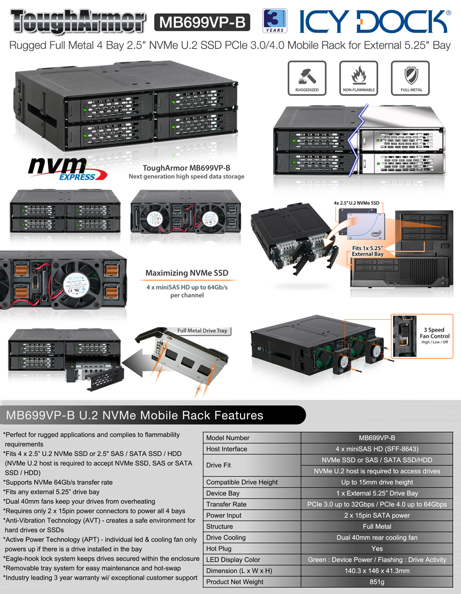 Mb699vp B Nvme Solutions 25 Hdd Ssd Cages Icy Dock Manufacturer Bracket Black Metal Inch To 35 Documents