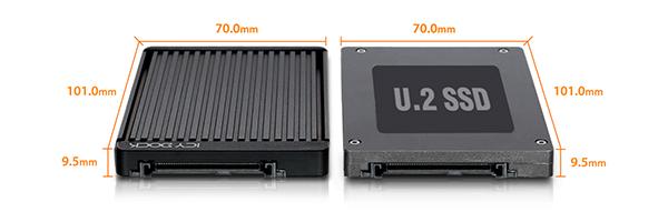 Comparaison de la taille d'un SSD U.2 avec le MB705M2P-B