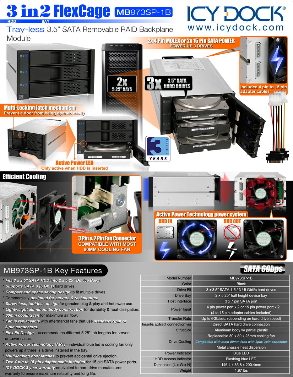 Mb973sp 1b 3 5 Quot Tray Less Cages 3 5 Quot Hdd Cages Icy Dock
