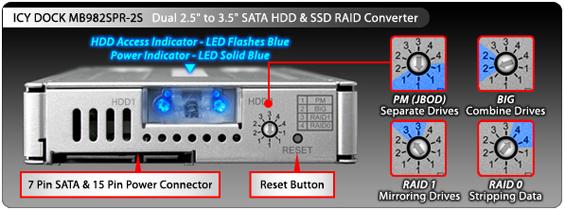 photo du bouton reset et du connecteur sata 7 pin et 15pin du mb982spt-2s