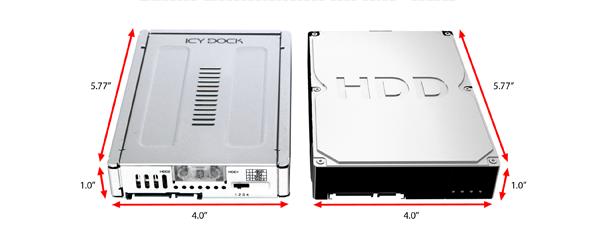 Photo du mb982spr-2s R1 à côté d'un disque dur 2.5 pouces (mêmes dimensions)