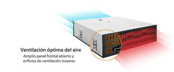 Flechas de colores que muestran la ventilación óptima del aire en el MB095SP-B